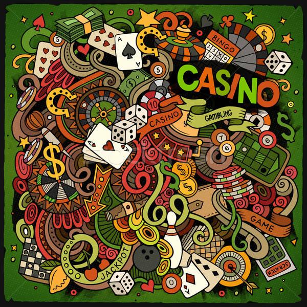 Desenho animado cassino jogos de azar ilustração colorido Foto stock © balabolka