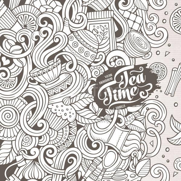 漫畫 塗鴉 咖啡館 咖啡館 插圖 線 商業照片 © balabolka