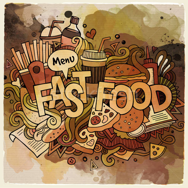 Cartoon vector hand drawn Doodle fastfood illustration Stock photo © balabolka