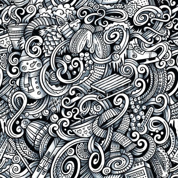 Karikatür karalamalar kış sezonu grafik Stok fotoğraf © balabolka