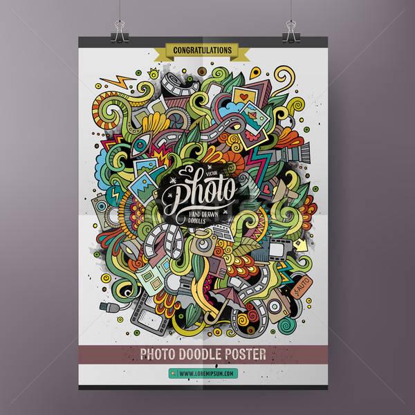 Cartoon colorful hand drawn doodles Photo poster template Stock photo © balabolka