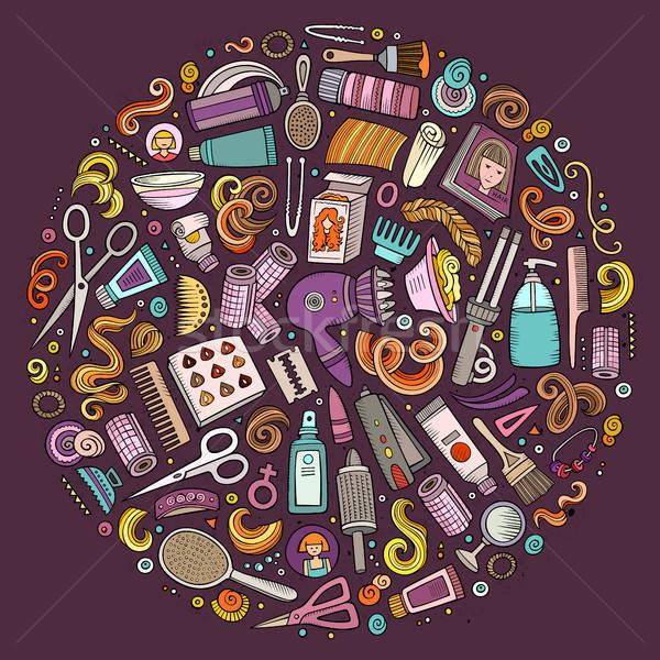 Vector set of Hair salon cartoon doodle objects Stock photo © balabolka