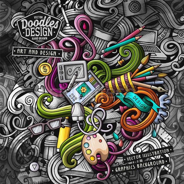 Doodles graphic design vector illustration. Creative art background Stock photo © balabolka