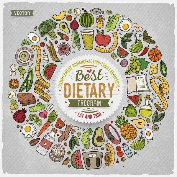 Set of vector cartoon doodle Diet food objects collected in a round border Stock photo © balabolka