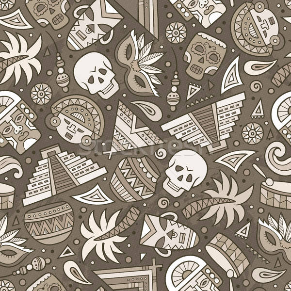 Stock photo: Cartoon hand-drawn latin american, mexican seamless pattern