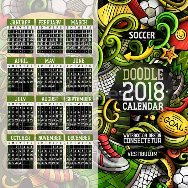 Rajz színes kézzel rajzolt firkák futball év Stock fotó © balabolka