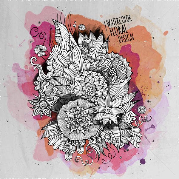 Vector watercolor paint abstract floral design Stock photo © balabolka