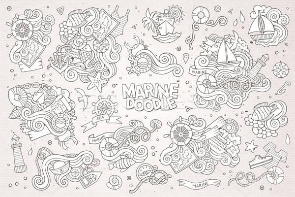 морской морской рисованной вектора объекты Сток-фото © balabolka