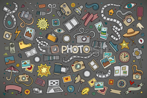 Colorful vector hand drawn Doodle cartoon set of objects Stock photo © balabolka