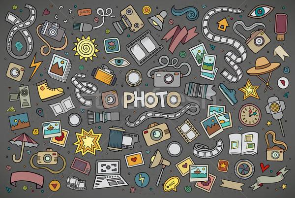 Színes vektor kézzel rajzolt firka rajz szett Stock fotó © balabolka