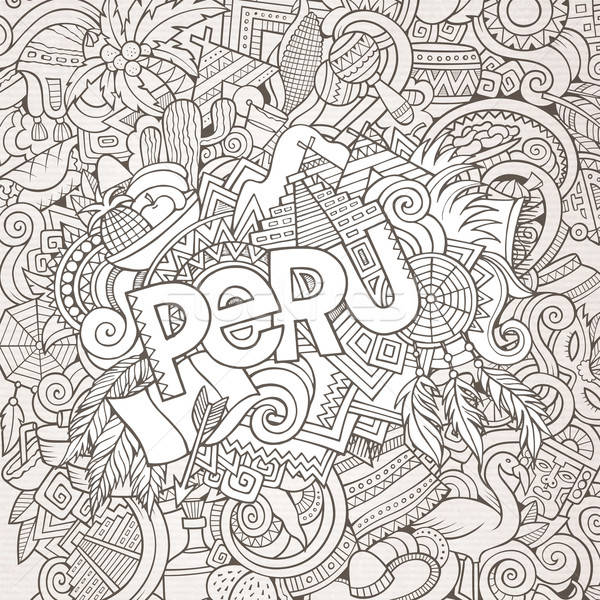 Peru hand lettering and doodles elements background Stock photo © balabolka