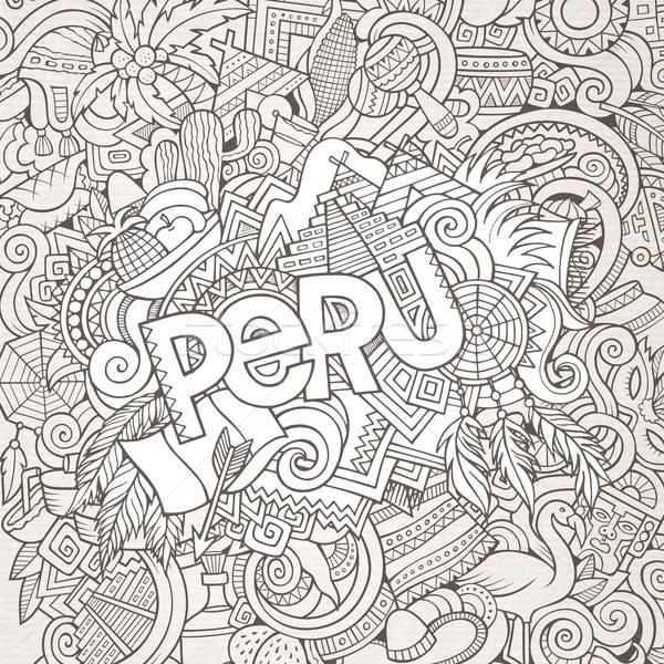 Perú mano garabatos elementos país símbolos Foto stock © balabolka