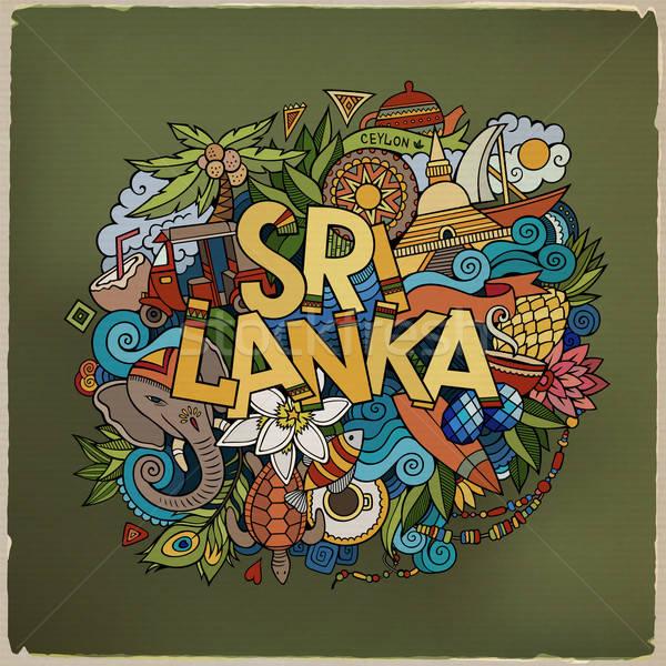 Sri Lanka strony bazgroły elementy symbolika wektora Zdjęcia stock © balabolka