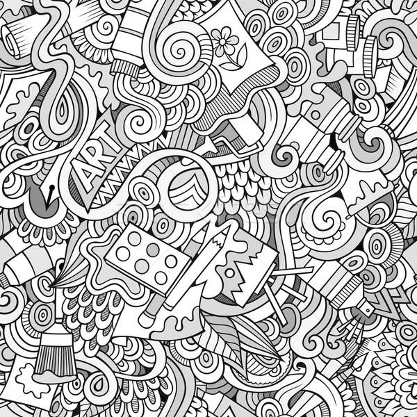 Cartoon vector art and craft seamless pattern Stock photo © balabolka