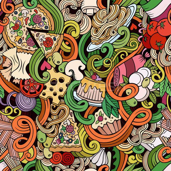 Karikatür karalamalar İtalyan mutfağı renkli ayrıntılı Stok fotoğraf © balabolka