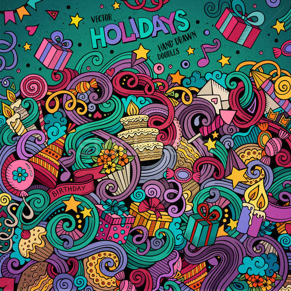 漫畫 塗鴉 假期 插圖 可愛 手工繪製 商業照片 © balabolka