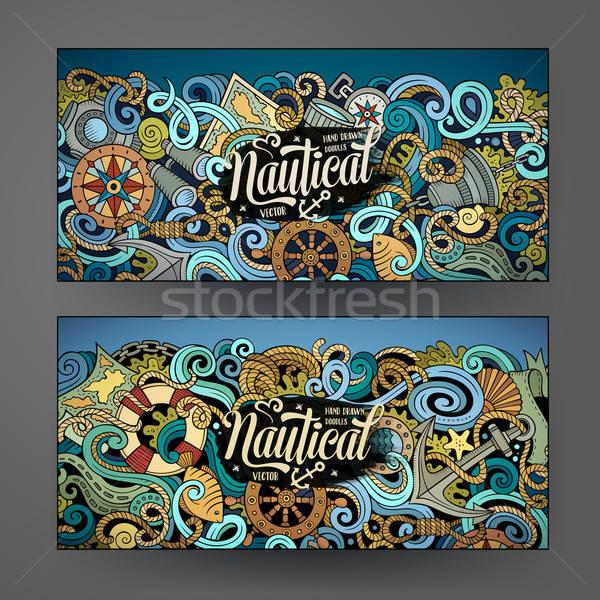 Cartoon wektora morski gryzmolić banery korporacyjnych Zdjęcia stock © balabolka