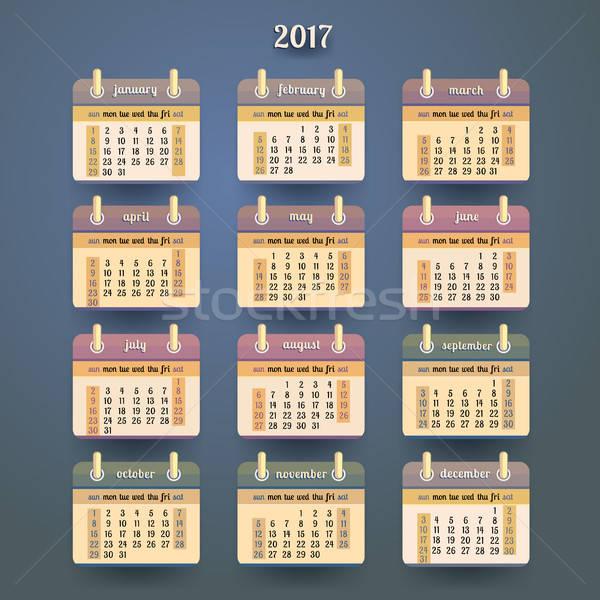 Flat calendar 2017 year design Stock photo © balabolka
