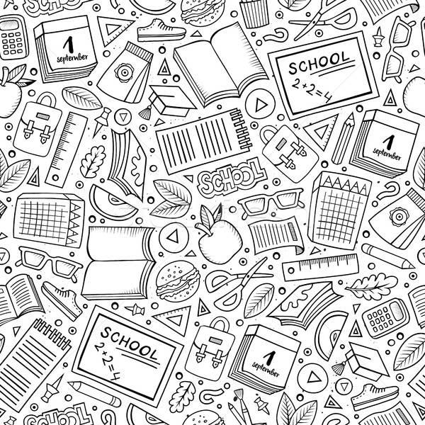 Stock photo: Cartoon cute hand drawn School seamless pattern