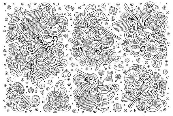 Stock photo: Vector doodle set of Japan food objects