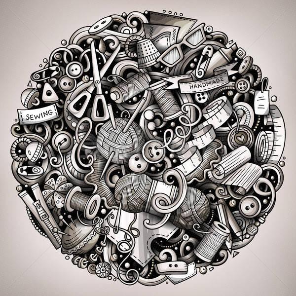 Cartoon vector doodles Handmade illustration Stock photo © balabolka