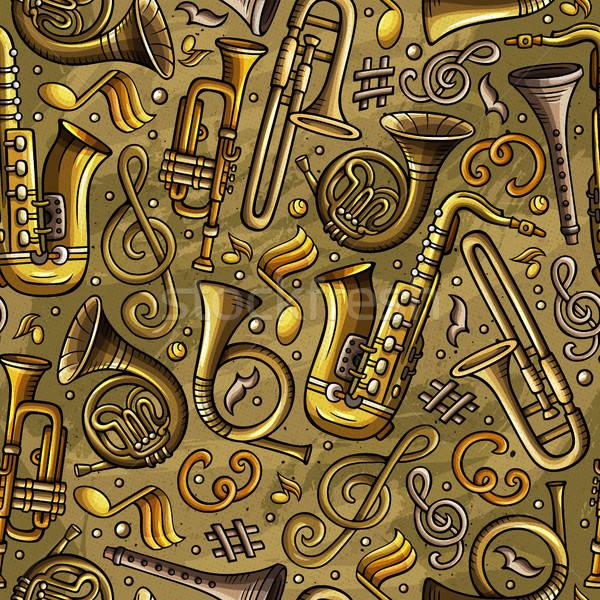 Cartoon hand-drawn Classic music seamless pattern Stock photo © balabolka