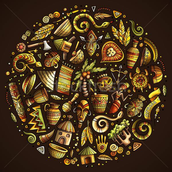 Coloré Afrique cartoon doodle objets Photo stock © balabolka