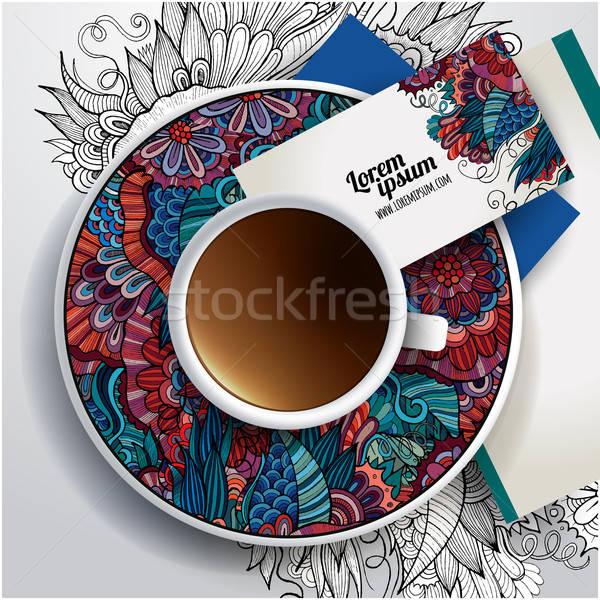 Foto stock: Vetor · copo · café · floral