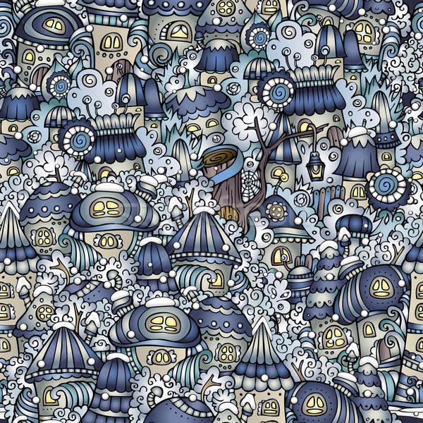 Cartoon sprookje winter huizen patroon vector Stockfoto © balabolka
