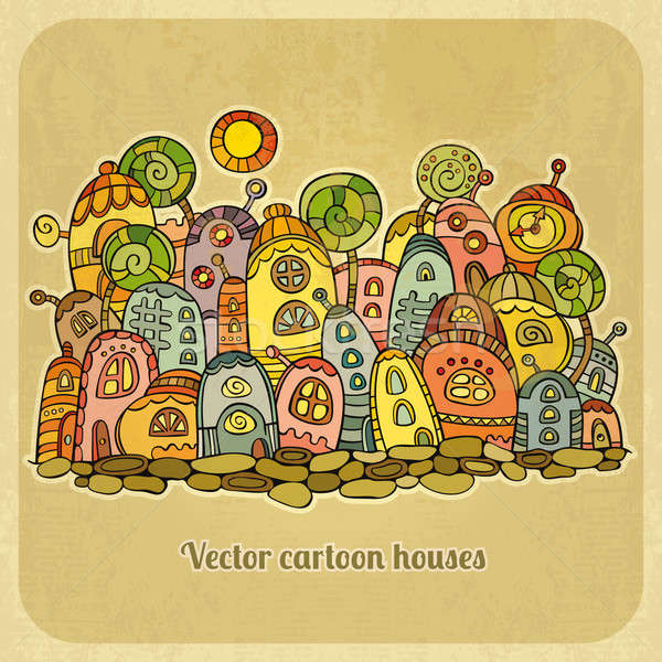 Cartoon fairy-tale spring houses. Stock photo © balabolka