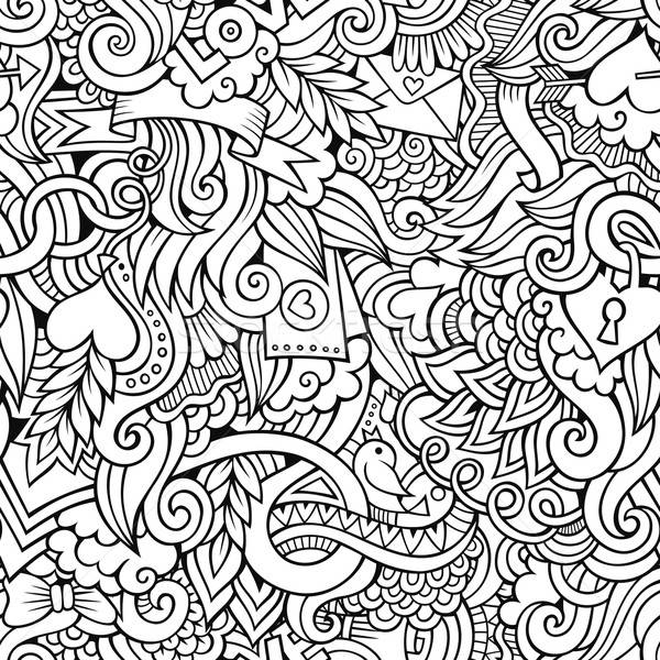 Doodles Love vector sketchy seamless pattern Stock photo © balabolka