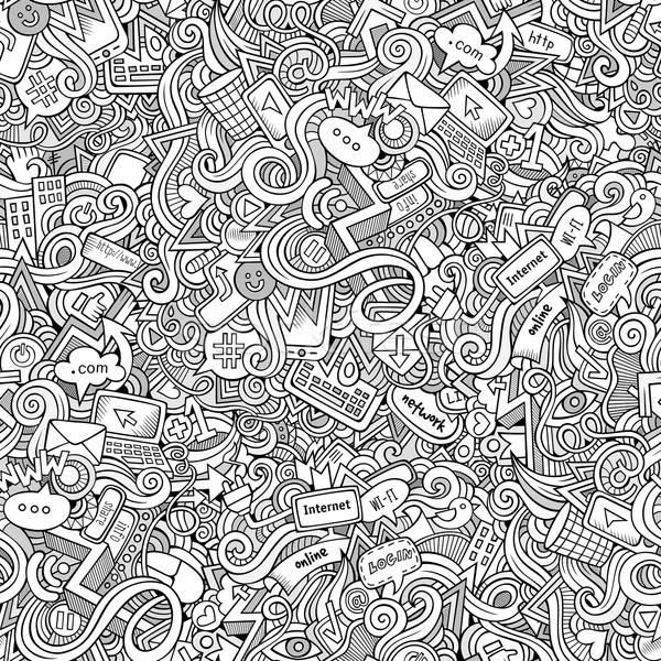 Cartoon hand-drawn doodles Internet social seamless pattern Stock photo © balabolka