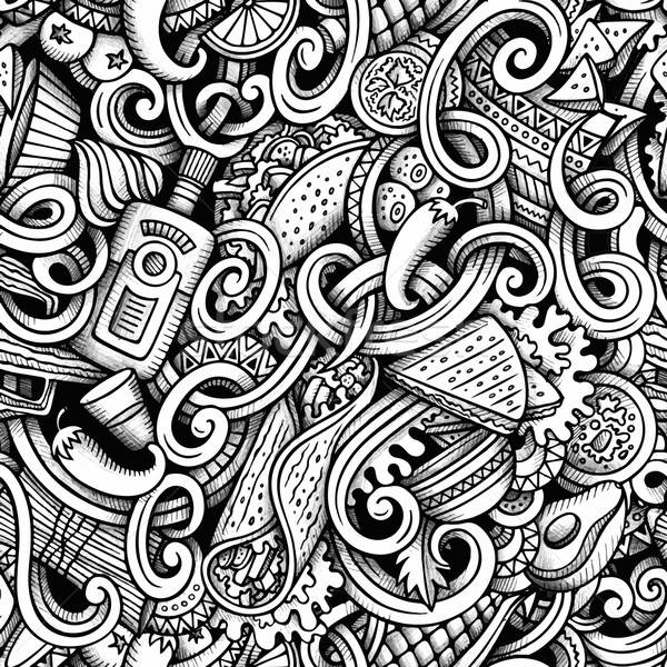 Cartoon hand-drawn doodles Mexican cuisine seamless pattern Stock photo © balabolka