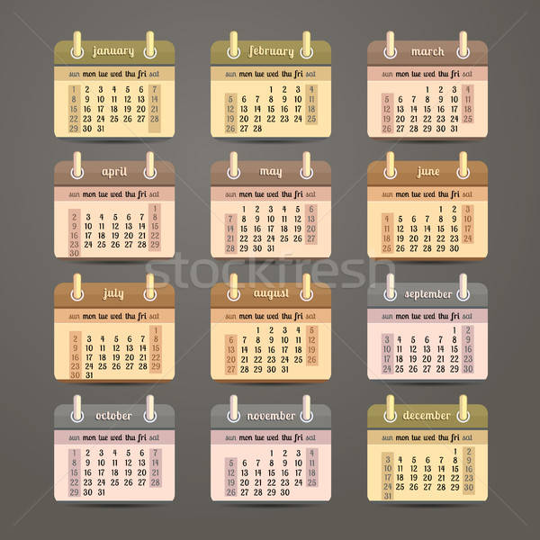 Foto d'archivio: Calendario · anno · design · english · business · ufficio