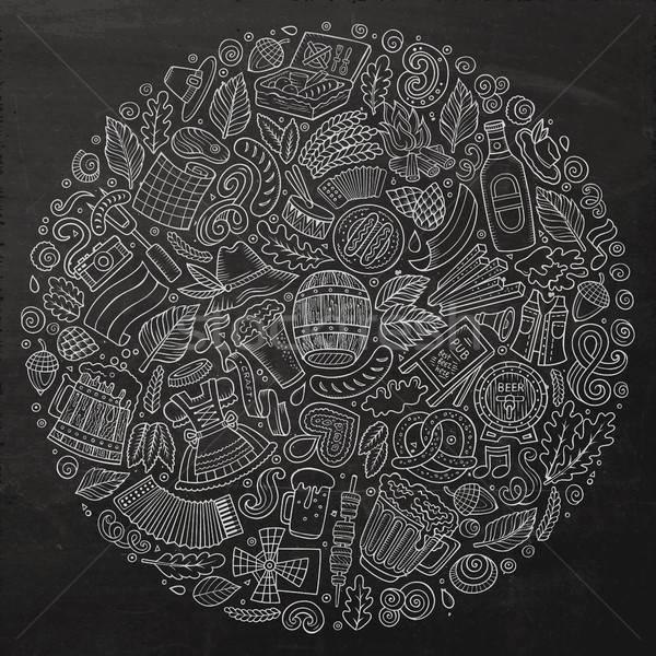 Foto stock: Vetor · conjunto · cerveja · desenho · animado · rabisco · objetos