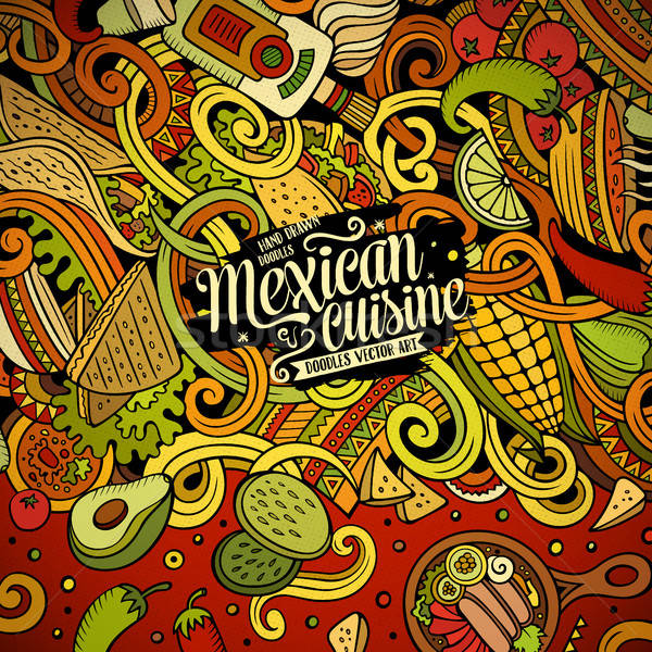Cartoon comida mexicana garabatos marco diseno cute Foto stock © balabolka