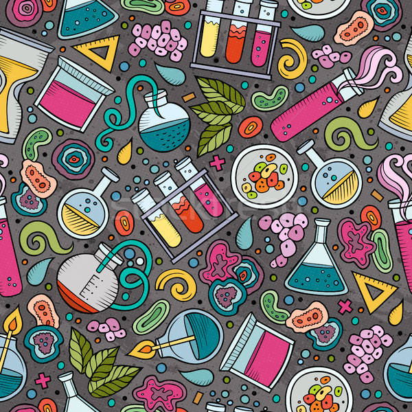 Cartoon cute hand drawn Science seamless pattern Stock photo © balabolka