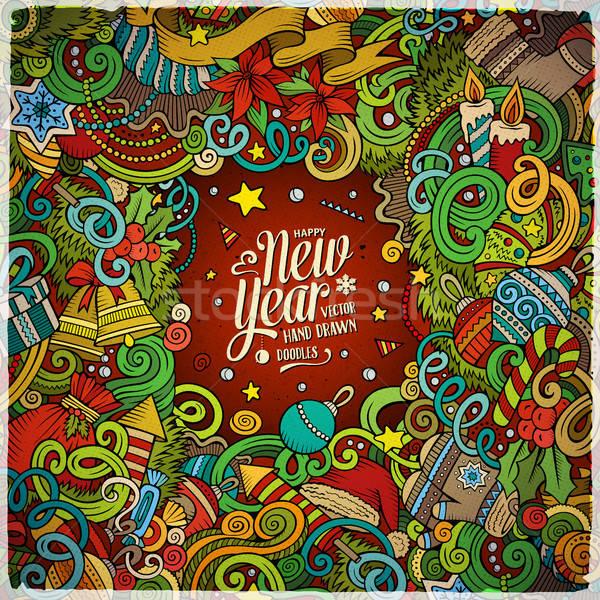 漫畫 可愛 塗鴉 新年好 幀 手工繪製 商業照片 © balabolka
