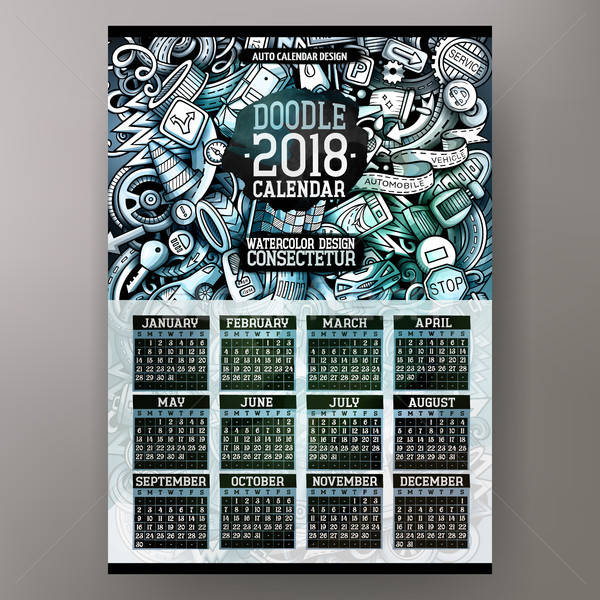 Cartoon colorful hand drawn doodles Auto 2018 year calendar template Stock photo © balabolka