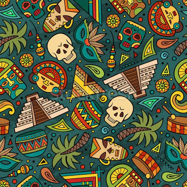 Cartoon hand-drawn latin american, mexican seamless pattern Stock photo © balabolka