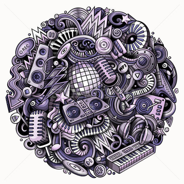 Cartoon vector doodles Disco music illustration Stock photo © balabolka
