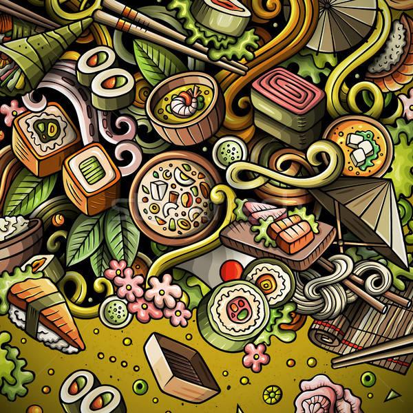 Cartoon scarabocchi Giappone alimentare frame vettore Foto d'archivio © balabolka