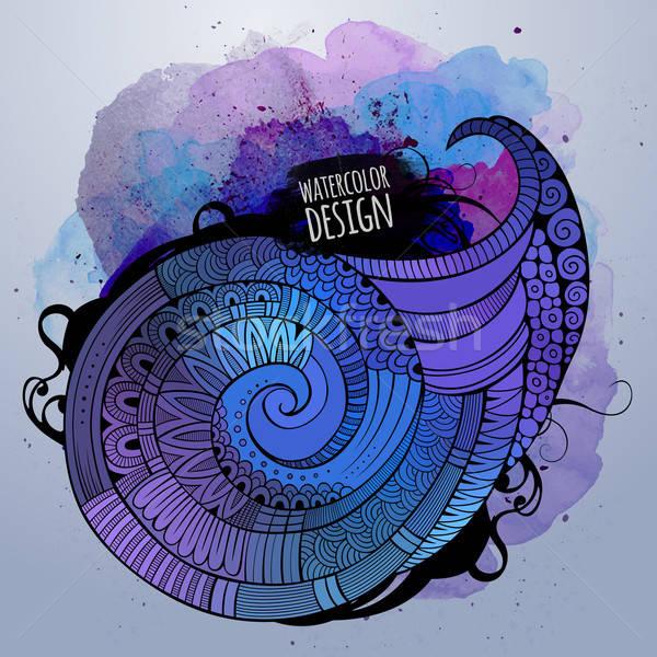 Stockfoto: Vector · aquarel · decoratief · spiraal · ontwerp · Blauw