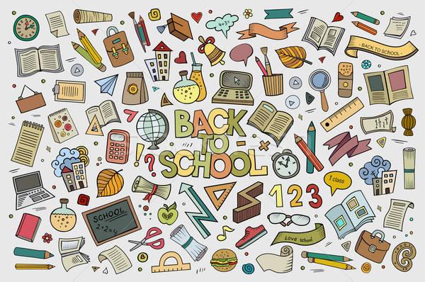 Iskola oktatás firkák kézzel rajzolt vektor szimbólumok Stock fotó © balabolka