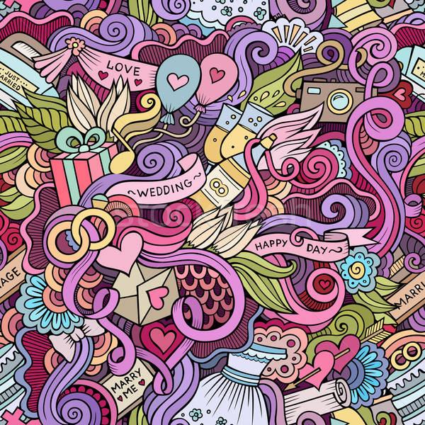 Stock photo: Cartoon doodles wedding seamless pattern