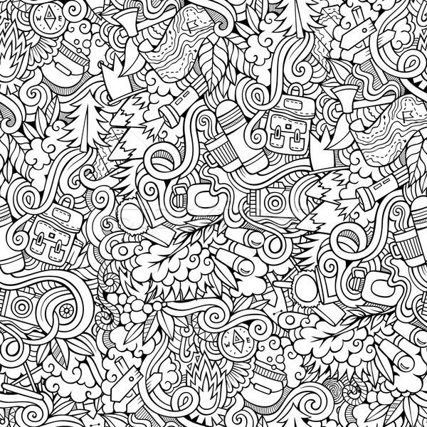 Rajz vektor firkák kempingezés végtelen minta kézzel rajzolt Stock fotó © balabolka