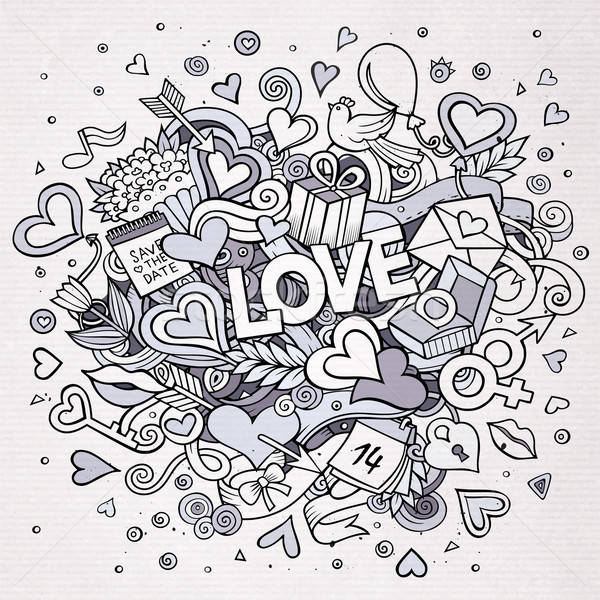 Cartoon vector hand drawn Doodle Love illustration Stock photo © balabolka