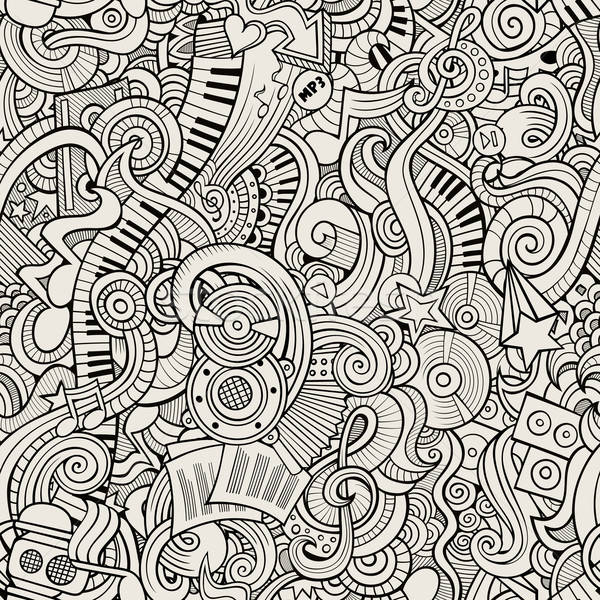 Cartoon hand-drawn doodles music seamless pattern Stock photo © balabolka