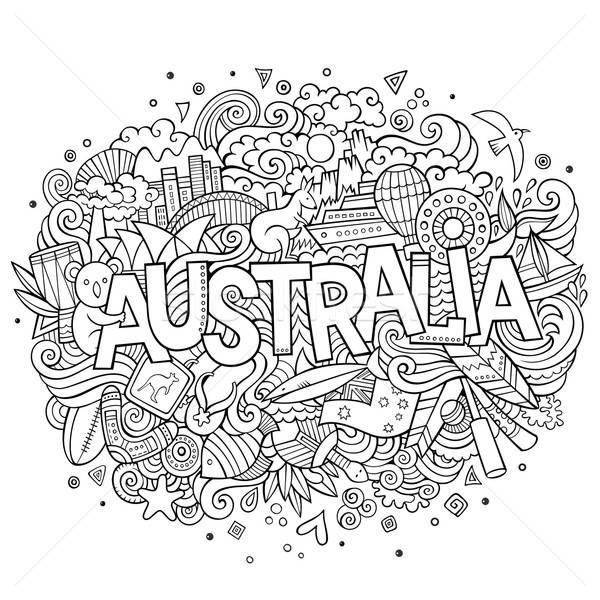 Australia hand lettering and doodles elements Stock photo © balabolka