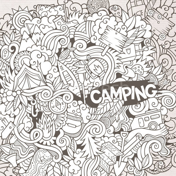 Cartoon garabatos campamento ilustración camping línea Foto stock © balabolka